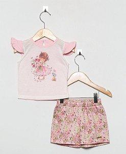 1309 conjunto short com flores, maga com  babadinhos, silk boneca flores
