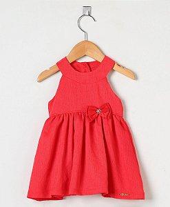 1390 - Vestido Vermelho com Detalhe de Laço