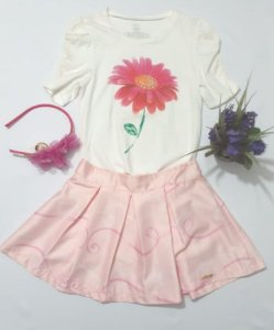 0666 - conj blusa saia flor