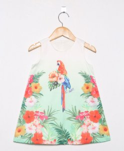 2676 - V VESTIDO ESTAMPA TROPICAL ARARA