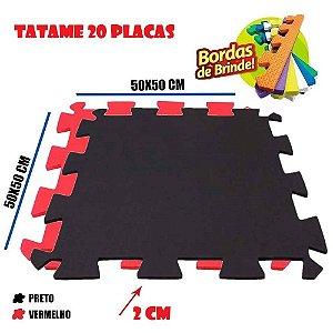 Tatames de Eva 20 Placas 50x50 20mm 10 Preto e 10 Vermelho