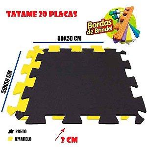 Tatames de Eva 20 Placas 50x50 20mm 10 Preto e 10 Amarelo