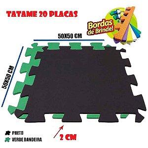 Tatames de Eva 20 Placas 50x50 20mm 10 Preto e 10 Verde Bandeira