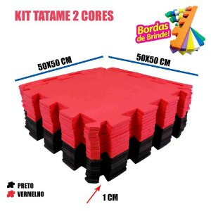 Kit 20 Tatames EVA 10 Pretos 10 Vermelhos 50x50 10mm