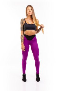 LEGGING SUPPLEX POLIAMIDA BLACK & Purple  280G LE1063