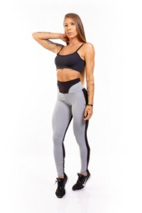 LEGGING EM SUPPLEX POLIAMIDA Black e Grey GRAMATURA 280G LE**1067