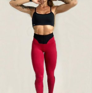 LEGGING EM SUPPLEX POLIAMIDA BLACK & red GRAMATURA 280G LE**1064