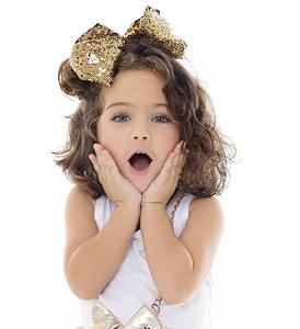Laço infantil maxi paetê cores