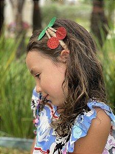 Tiara de cabelo cereja