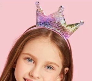 Tiara de cabelo paetê princesa