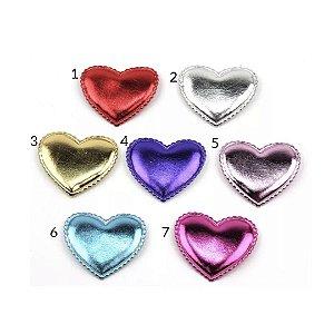 Laço infantil coração metalizado