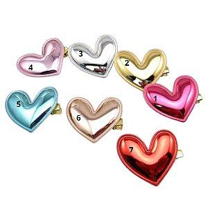 Laço infantil coração metalizado brilho