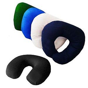 Almofada de pescoço com enchimento em fibra sintetica macia
