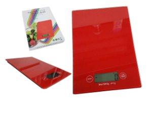 Balança para Cozinha Digital em Vidro Retangular Vermelha 5Kg