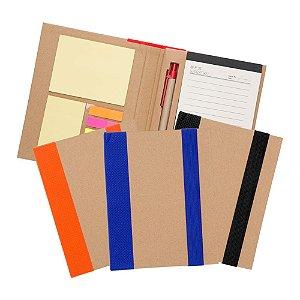 Pasta kit para congresso com caderno em papel kraft 80 folhas pautadas em papel reciclado.