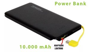 Bateria power bank 10.000 mAh 2 saídas usb