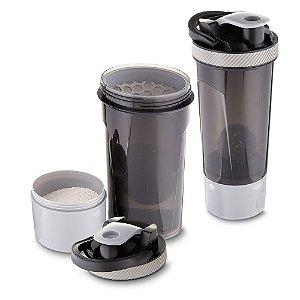Garrafa coqueteleira plástica 720ml com copo, misturador e peneira