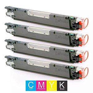 KIT 04 CARTUCHO DE TONER HP CP1025 | CE310A | CE311A | CE312A | CE313A | 126A CMYK COMPATÍVEL