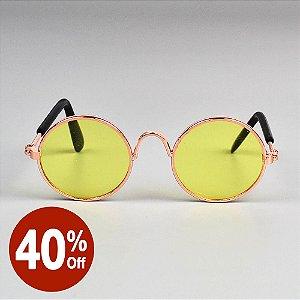 Óculos Redondo Amarelo