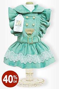 Vestido Veludo Menta