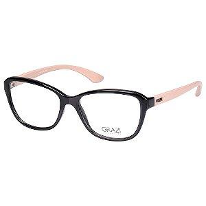 Oculos de Grau Feminino Grazi GZ3037 Médio Preto Brilho com Bege