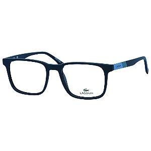 Óculos de Grau Quadrado Lacoste L2819 Masculino Azul Fosco Médio
