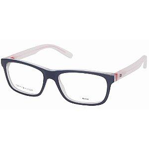 Óculos de Grau Acetato Tommy Hilfiger TH1361 Azul Fosco e Transparente