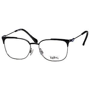 Óculos de Grau Feminino Preto Brilho Kipling KP1109 Metal Médio