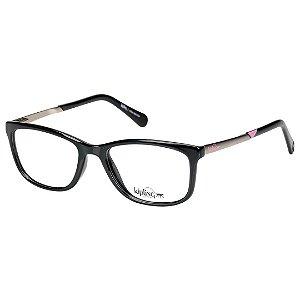 Óculos de Grau Kipling KP3061 Preto Brilho com Prata e Rosa