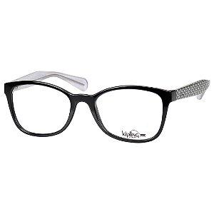 Óculos de Grau Kipling KP3082 Preto Brilho com Estampa Feminino