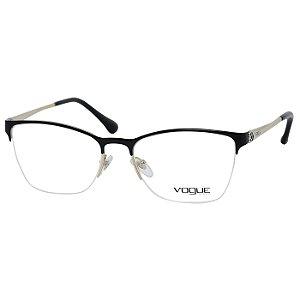 Armação de Óculos Vogue Metal VO4005L Preto Fosco e Dourado Médio