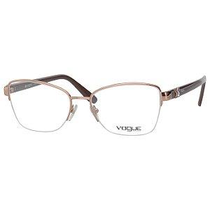 Óculos de Grau Feminino Vogue Metal VO4069BL Dourado e Marrom Brilho Médio
