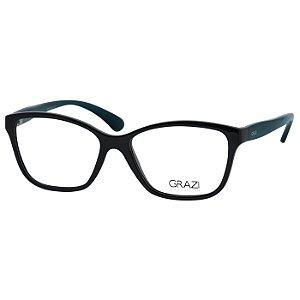 Óculos de Grau Grazi GZ3040 Pequeno Preto Brilho com Verde