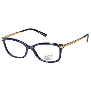Óculos de Grau Feminino Grazi GZ3026B Acetato Azul Marinho Brilho