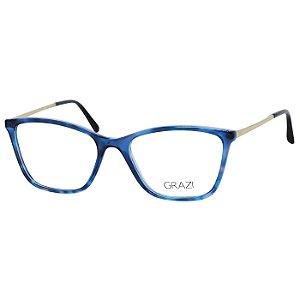 Óculos de Grau Grazi GZ3051 Azul Demi Translúcido e Dourado