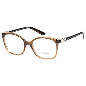 Oculos de Grau Feminino Grazi GZ3034B Marrom Translúcido com Cristais Swarovski