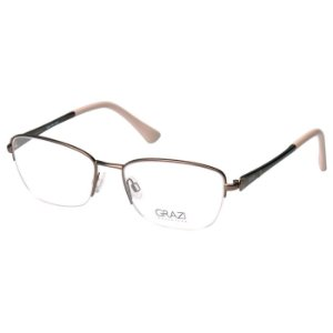 Óculos de Grau Feminino Grazi GZ1004 Metal Fosco Marrom Médio