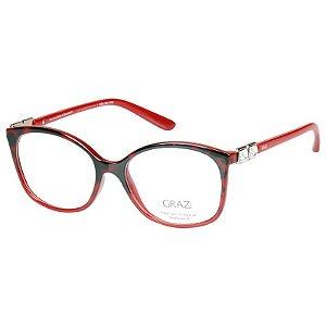 Oculos de Grau Grazi Vermelho Demi Degradê GZ3034B com Cristais Swarovski