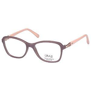 Oculos de Grau Feminino Grazi GZ3021B Marrom Claro Brilho com Bege Médio