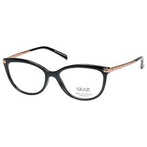Oculos de Grau Feminino Grazi GZ3037 Médio Preto Brilho com Bege ... cd5be6c46b