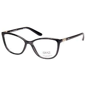 Oculos de Grau Pequeno Grazi GZ3029B Preto Brilho com Cristais Swarovski