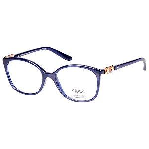 Oculos de Grau Grazi GZ3034B Azul Marinho Brilho com Cristais Swarovski