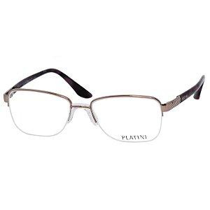 Óculos de Grau Feminino Platini P91166 Metal Bronze com Marrom