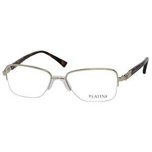 Óculos de Grau Platini P91173 Metal Dourado e Marrom Tartaruga