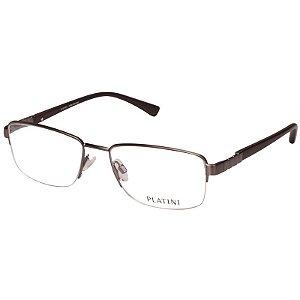 Óculos Masculino de Grau Metal Platini P91156 Cinza Fosco e Marrom
