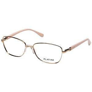 Óculos de Grau Metal Platini P91171 Feminino Dourado e Nude Médio
