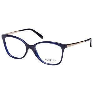 Óculos de Grau Platini Azul Brilho Feminino P93131 Médio