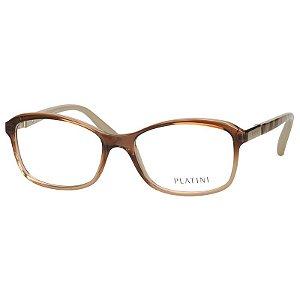 Óculos de Grau Feminino Platini P93132 Marrom Translúcido Médio