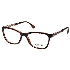 Armação de Óculos Platini Marrom Tartaruga Brilho P93112 Pequena