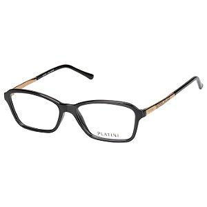 Oculos de Grau Feminino Pequeno Platini P93119 Preto Brilho com Dourado